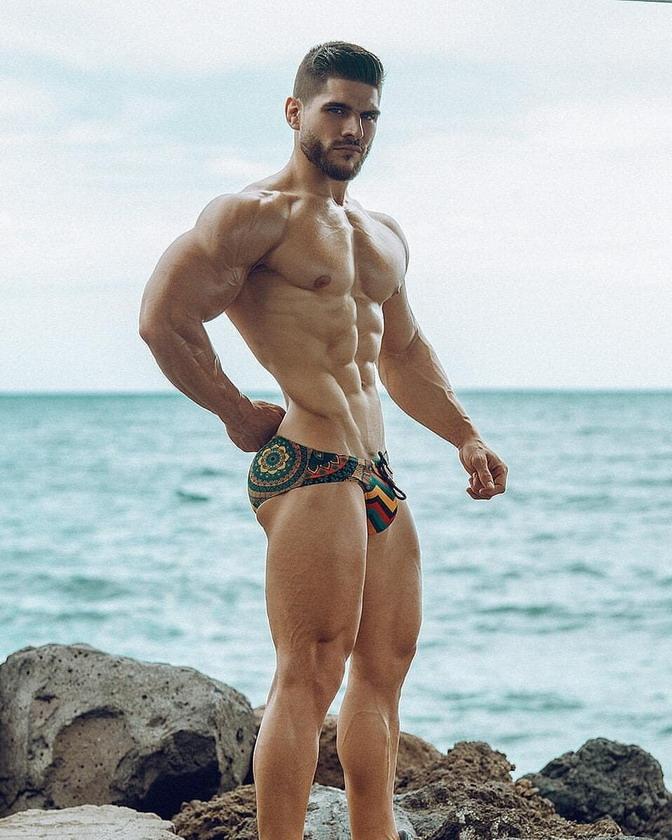 Swimwear model with abeard