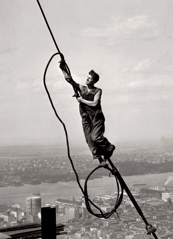 Construction worker high up on a skyscraper, NYC,1930s