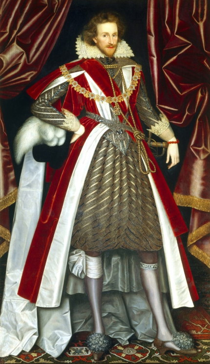"William Larkin – ""Philip Herbert, 4th Earl of Pembroke"", 1615 (when men wore brocade skorts and had pom poms on their shoes)"