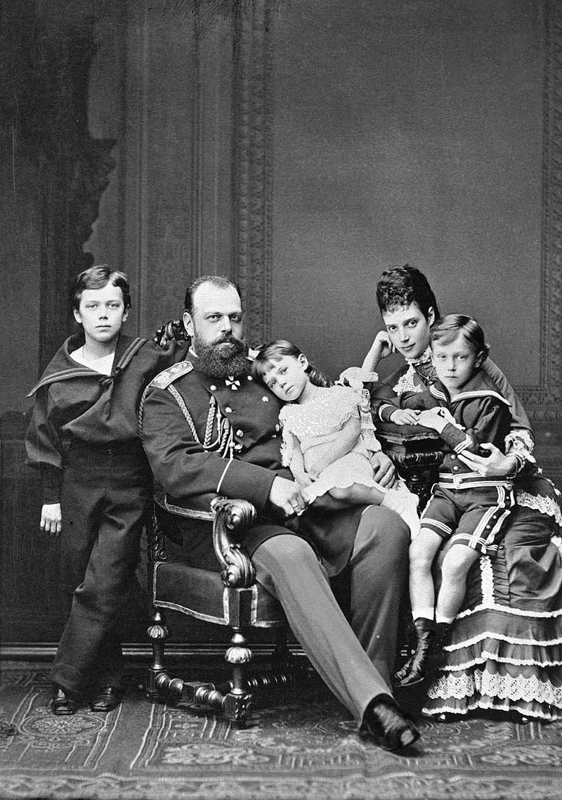 Tsar Alexander III and Empress Alexandra with family (young Nicholas II standing on the left), 1878