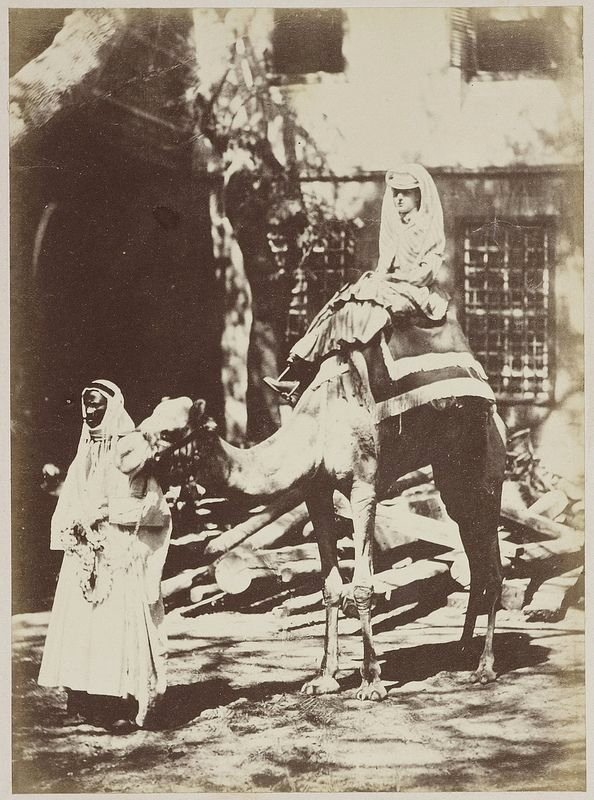 Alexandra, Princess of Wales, riding a camel whilst visiting Egypt in 1869