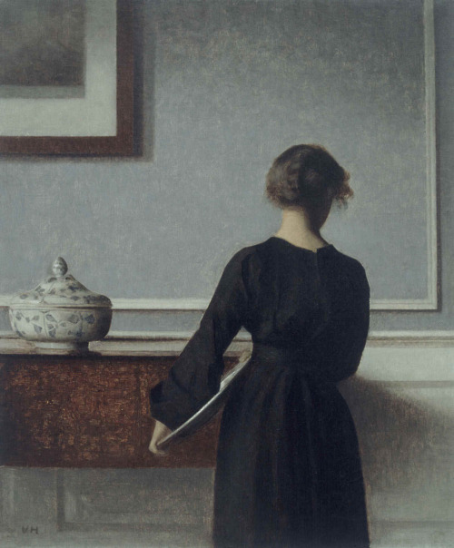 """Interior with Young Woman from Behind"" by Vilhelm Hammershoi, 1904"