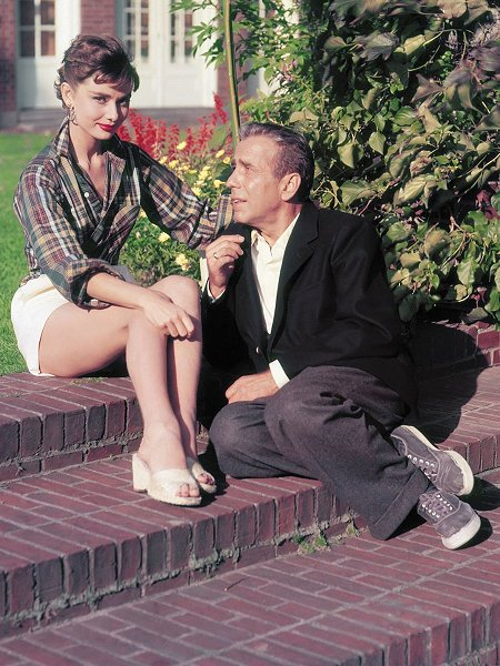 "Audrey Hepburn and Humphrey Bogart in a promo shot for ""Sabrina"", 1954"