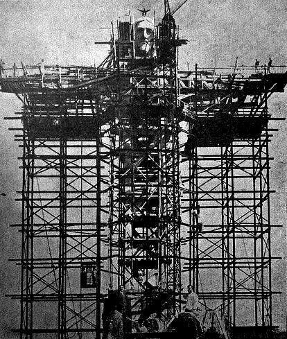 The giant statue of Jesus overlooking Rio de Janeiro, Brazil, being built,1930