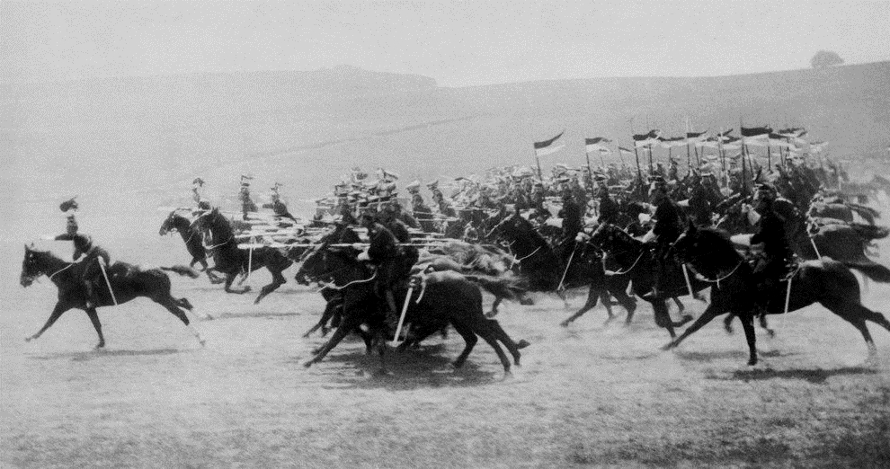 British cavalry attacking Germans in France, WWI era