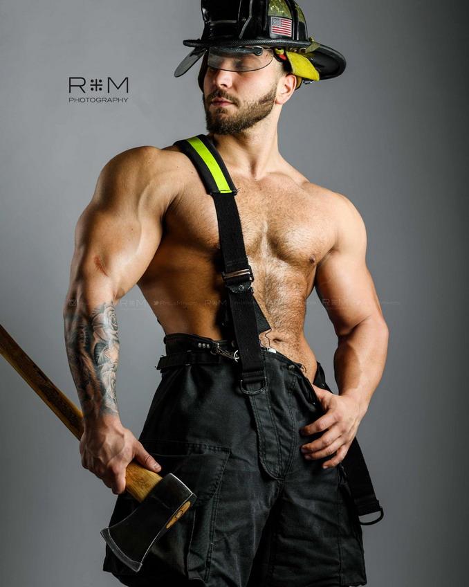 Shirtless Fireman