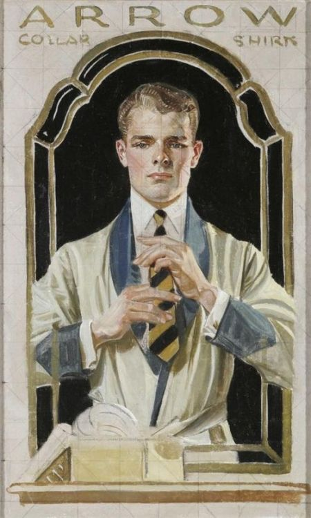 Leyendecker sketch for an Arrow Shirt/Collar print ad, 1910s