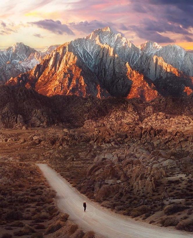 Lone hiker, Alabama Hills,California