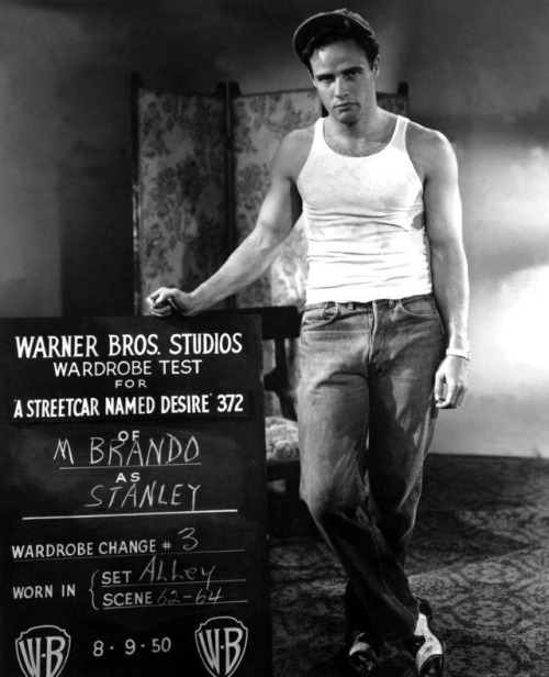"Marlon Brando doing a wardrobe check for ""A Streetcar Named Desire"""
