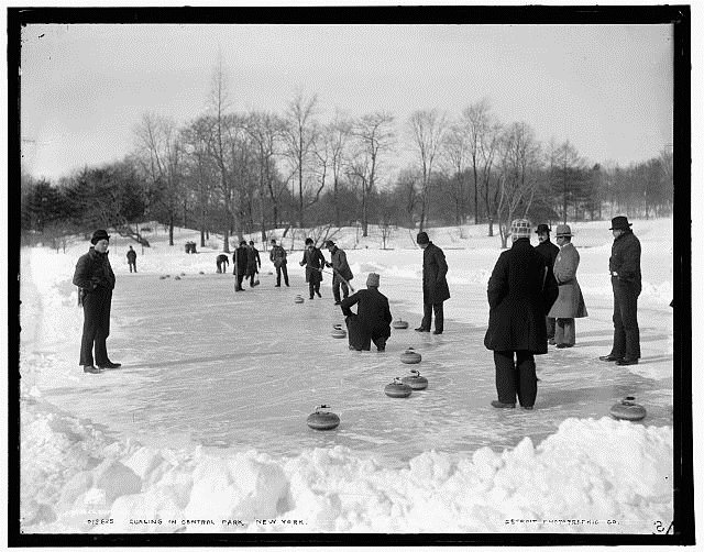Curling in Central park, NYC, circa 1905