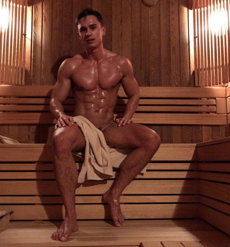 Model in the sauna