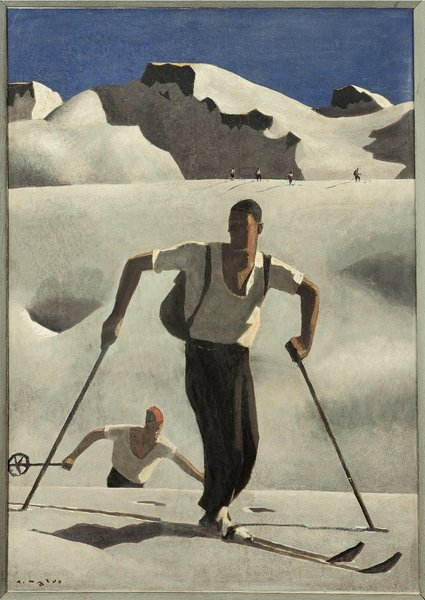Skiers, an Austrian travel poster