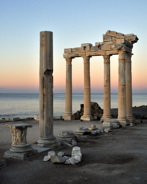 Sunrise at Apollo temple, Side, Turkey