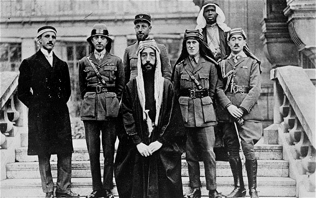 "TE Lawrence (""Lawrence of Arabia"") with Emir Feisal and the Arab Commission to the Peace Conference in Versailles, 1919"