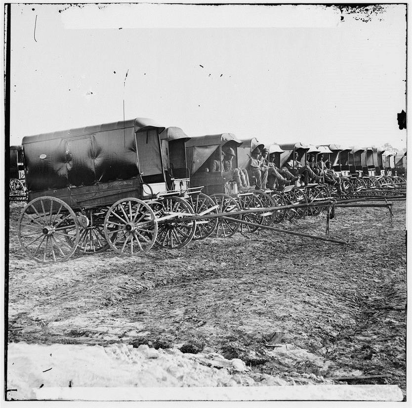 Ambulances waiting near the battlefield in Gettysburg (Pennsylvania), US Civil War,1860s