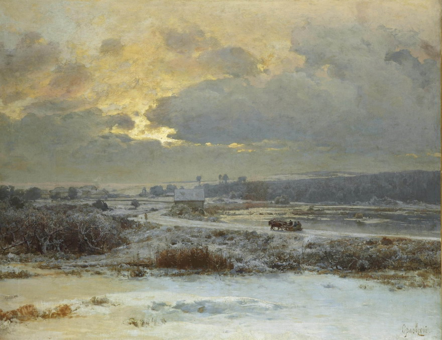 Winter scene, Ukraine, by Vladimir Orlovsky, 1800s