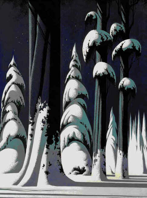 Snowy forest illustration