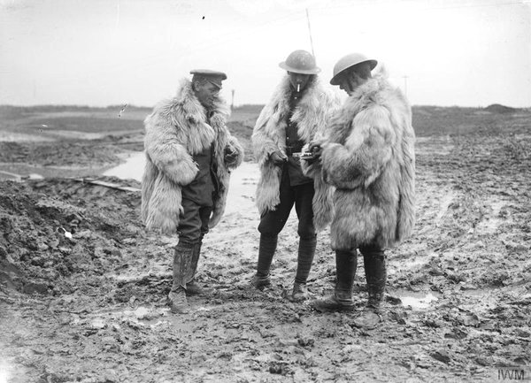 British soldiers wearing fluffy coats, WWI