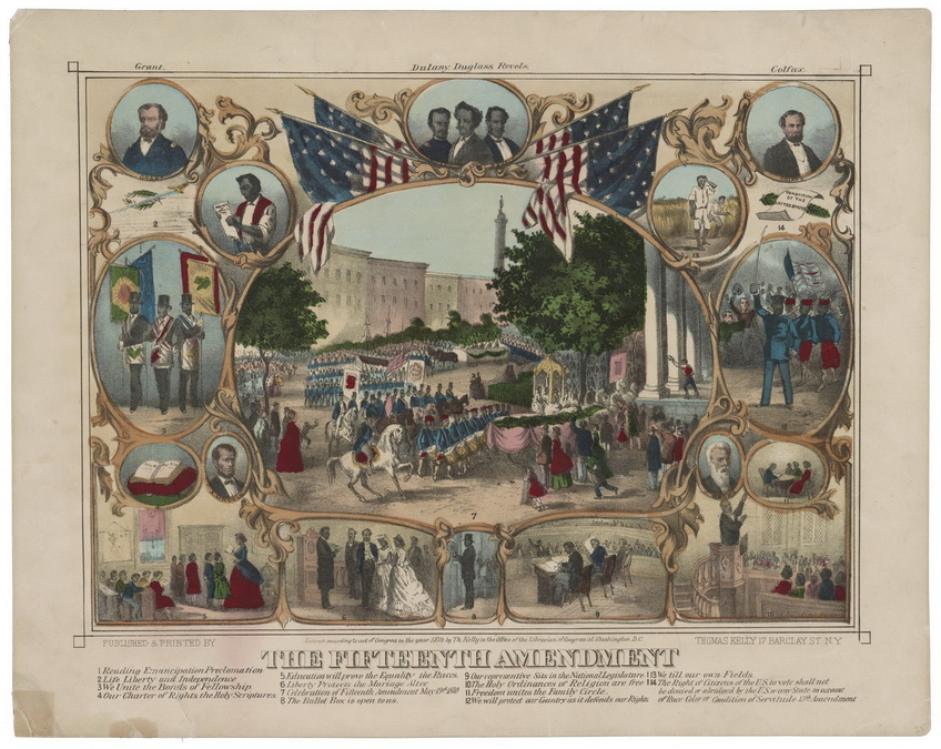 15th Amendment to the US Constitution – granting African-American men the right to vote, 1870