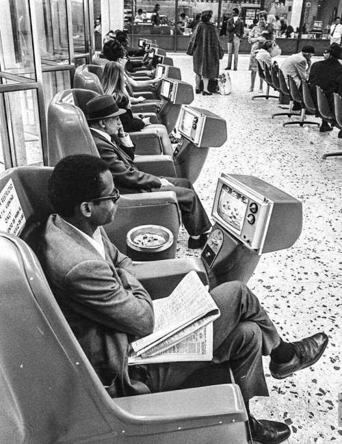 Bus station waiting area, 1960s