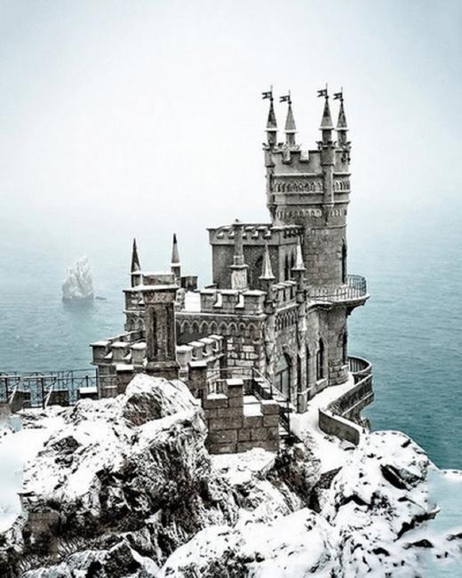Castle in the snow,Ukraine