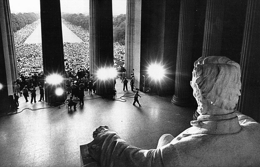 Martin Luther King Jr. addressing the Civil Rights March on Washington DC, 1963, at the Lincoln Memorial