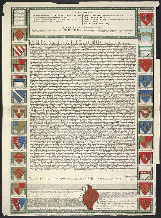 John Pine's replica engraving of the Magna Carta, UK,1730s