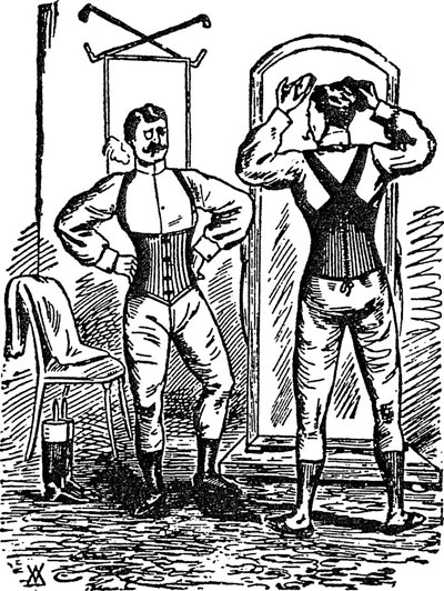 Corsets for men, 1800s