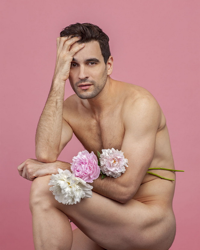 Model with peonies