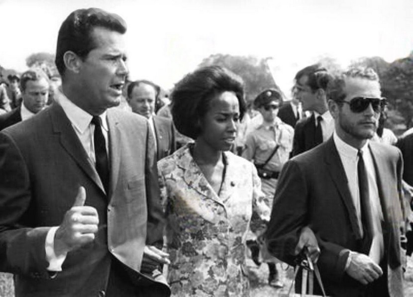 James Garner, Diahann Carroll, and Paul Newman at the 1963 Civil Rights March in Washington DC
