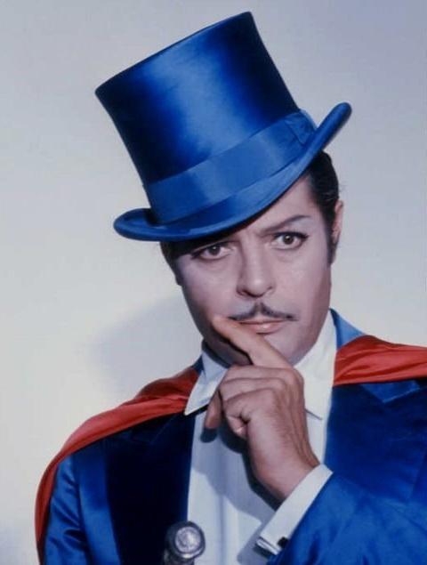 """Marcello Mastroianni dressed as Mandrake in """"Intervista"""" by Federico Fellini,1987"""