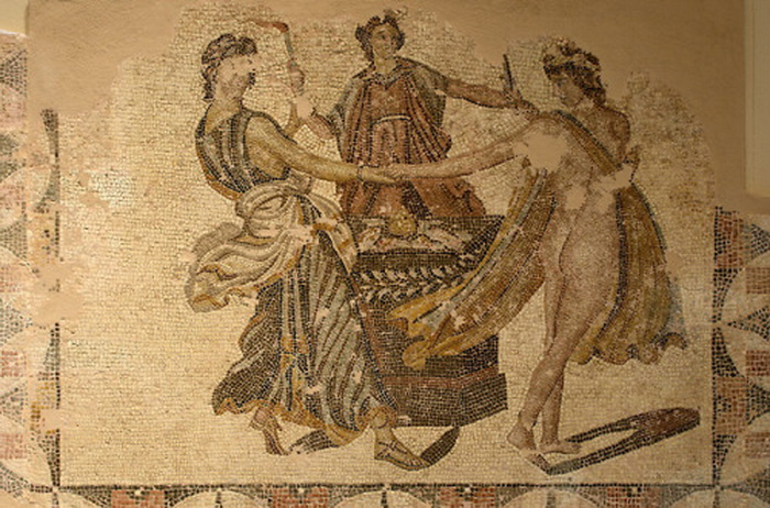 Mosaic of the Three Graces dancing, from the Roman villa in Patras, Greece