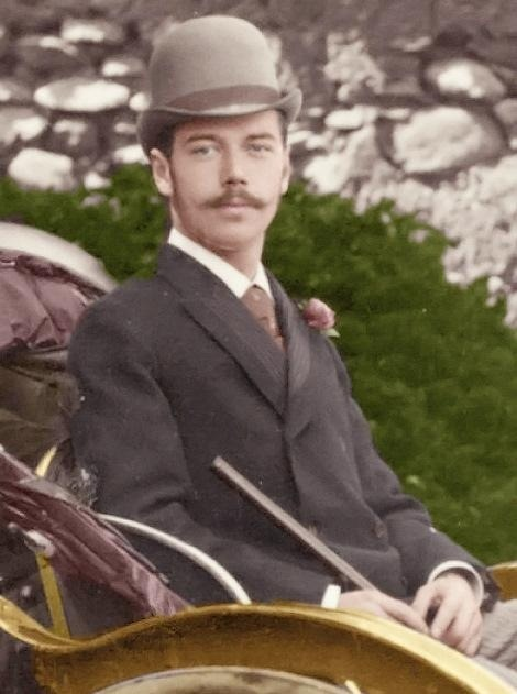 Colourized young Nicholas II (just a prince at this time) out for a carriage ride, Russia,1800s