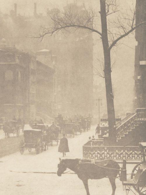 Fifth Avenue, NYC, in a snowstorm by Alfred Stieglitz,1900