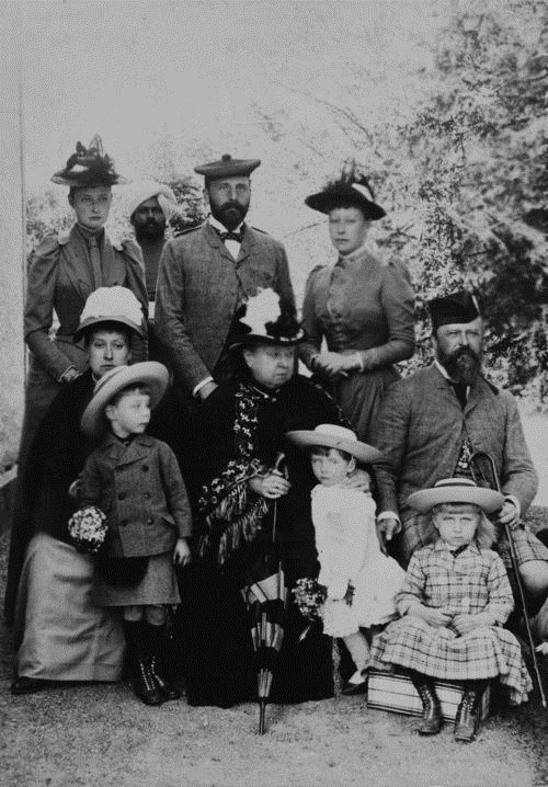 Queen Victoria and family (including two future kings), late 1800s