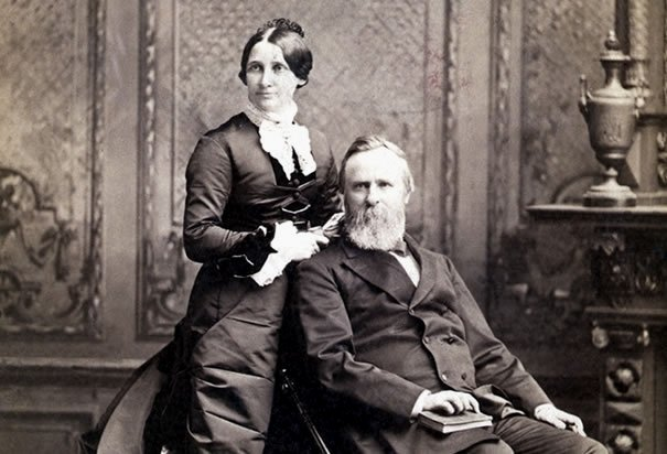 President Rutherford B. Hayes and his wife,1870s