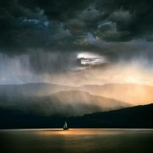 Sailboat in a rainsquall
