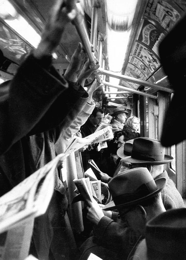 Vintage subway commuters