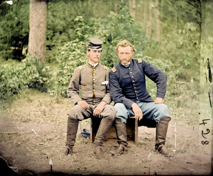 Colourized picture of two brothers together, one a Confederate and the other a Union soldier, 1860s