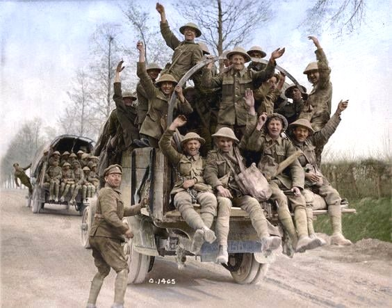 Colourized photo of Canadian troops in France, WWI