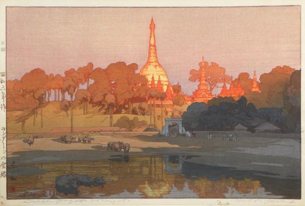 """Hiroshi Yoshida """"Golden Pagoda in Rangoon"""",1931"""