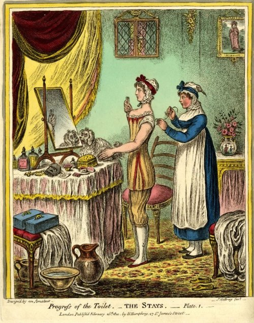 Putting on the corset, 1810