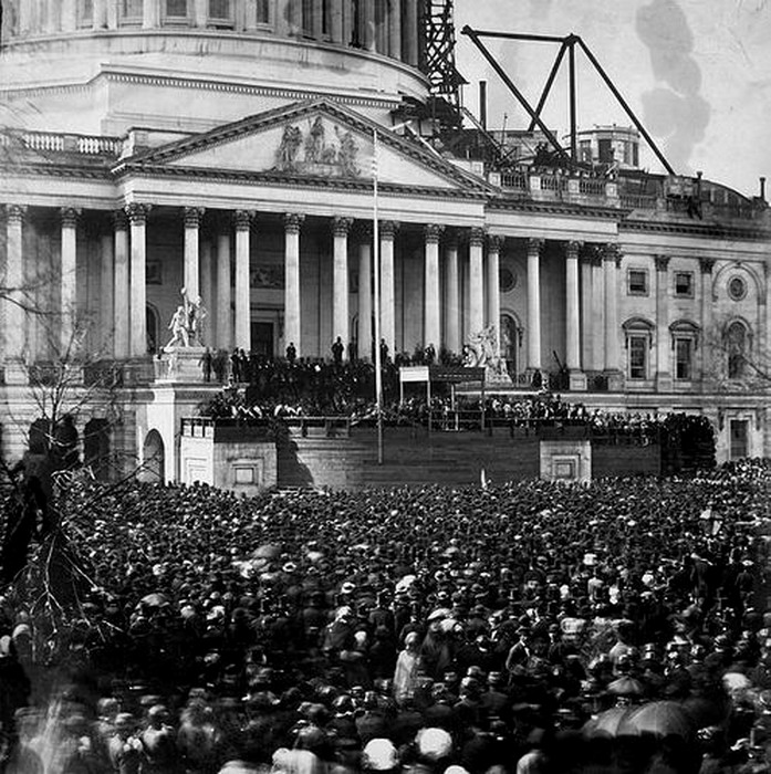 Abraham Lincoln inauguration on the steps of the US Capitol Building, still under construction, Washington DC