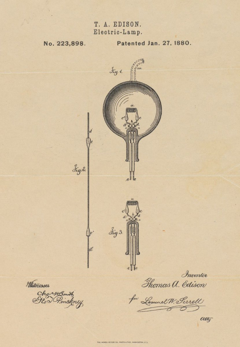 From Thomas Edison's patent for the electric light bulb, US, 1880