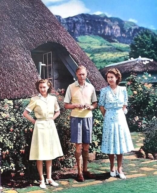 King George VI and his daughters Princess Margaret & Princess Elizabeth (later QEII), late 1930s or 1940s