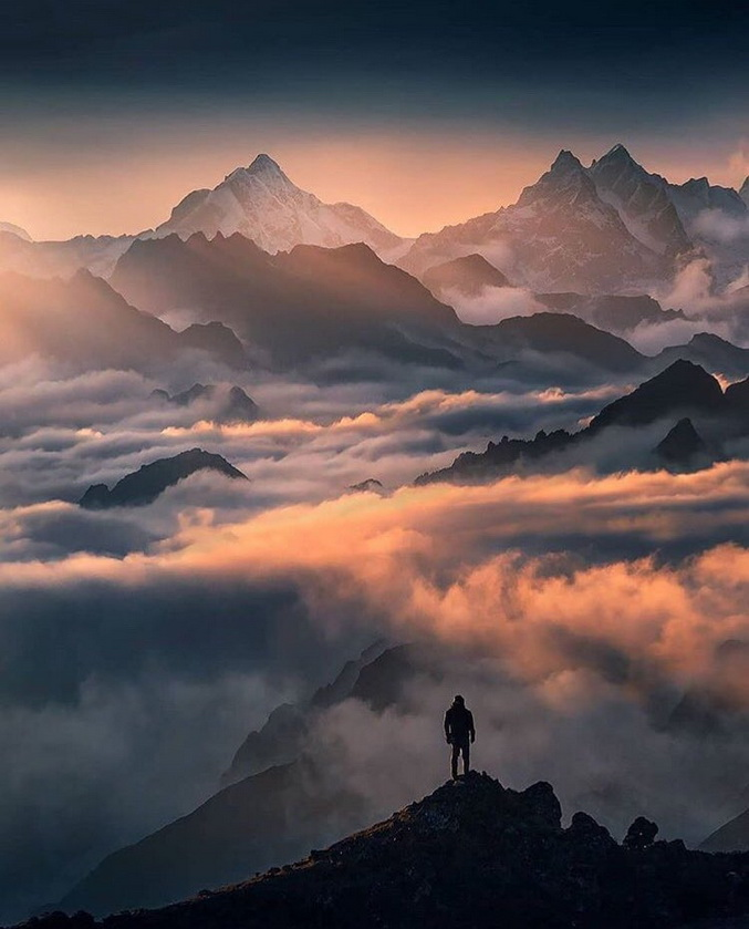 Lone hiker in the Himalayas