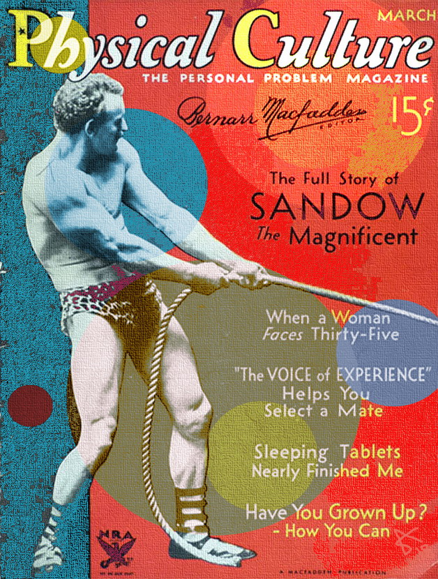 Sandow the Magnificent on the cover of 'Physical Culture'magazine