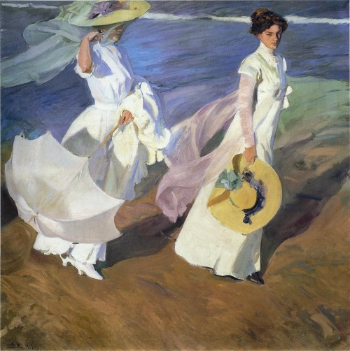 """Strolling along the Seashore"", by Spanish painter JoaquínSorolla"