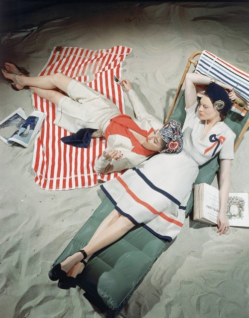 Beach fashions, Vogue, 1940s