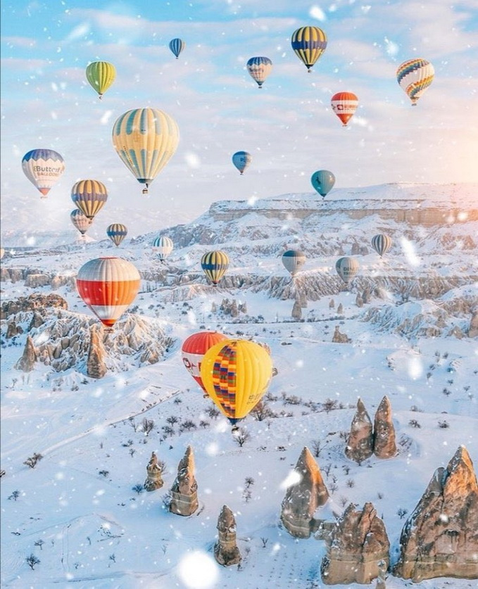 Hot air balloons over Turkey in winter